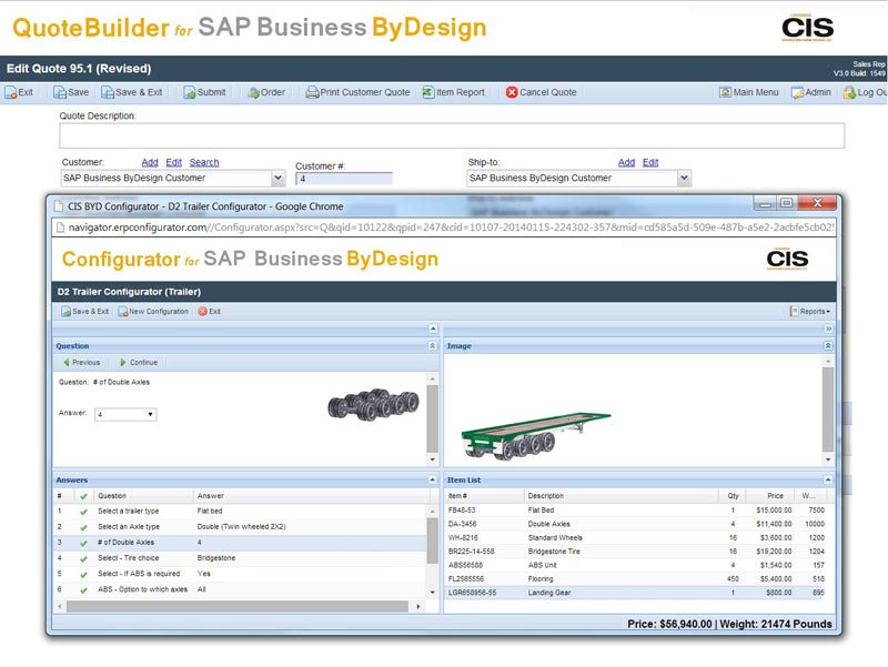 Configurator integration with SAP Business ByDesign