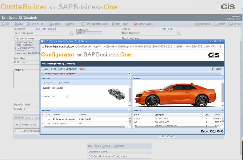 Consumers can generate quotes and orders 24/7 with the Configurator launched from CIS web QuoteBuilder with the order submitted to SAP Business One