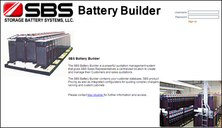 CIS Configurator for SBS - Storage Battery Systems, LLC